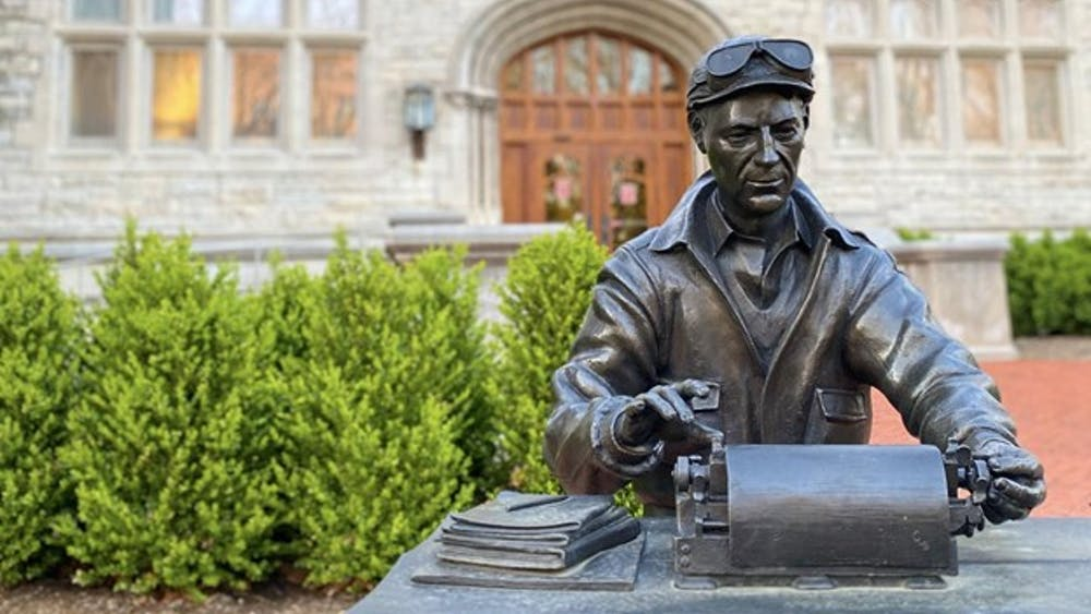 Statue of prolific journalist Ernie Pyle outside of Indiana University's Media School, Franklin Hall. The Indiana Daily Student was granted 20 awards on March 20 from the Associated Collegiate Press and the College Media Business and Advertising Managers' annual events.