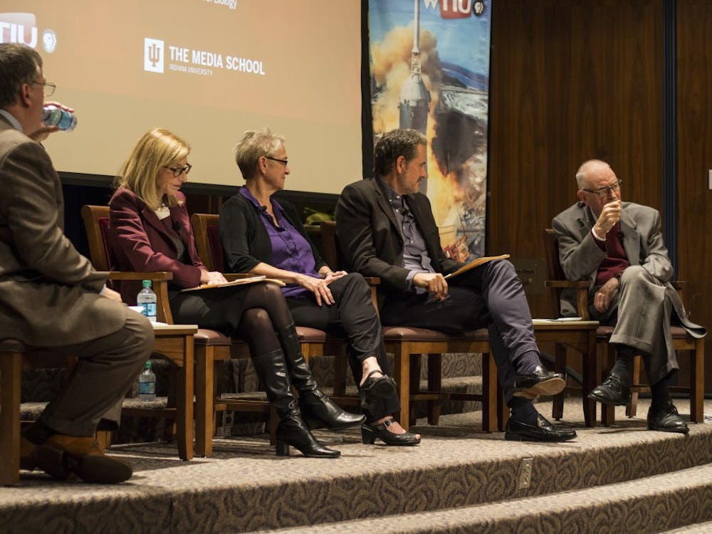 Lee Hamilton, former congressman and current IU professor of practice, answers a question at a panel discussion Wednesday evening in the Whittenberger Auditorium. The panel was an open dialogue about the changing climate in today's divisive political landscape and consisted of NOVA producers Paula Apsell and Doug Hamilton, as well as IU faculty members Ella Ketterson and Lee Hamilton.