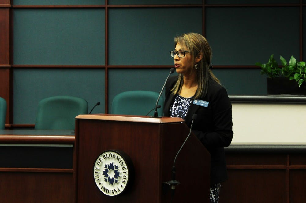 <p>Latino Programs Coordinator Josefa Luce speaks during the Hispanic and Latino Affairs Awards Ceremony on Sept. 30 at Bloomington City Hall. The ceremony recognized outstanding members of the Latino community.</p>