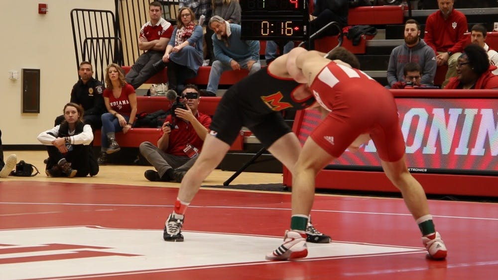 IU wrestles against Maryland on Jan. 13 in Wilkinson Hall. IU will take on Rutgers at 7 p.m. Feb. 8 and Stanford University at 7 p.m. Feb. 9.