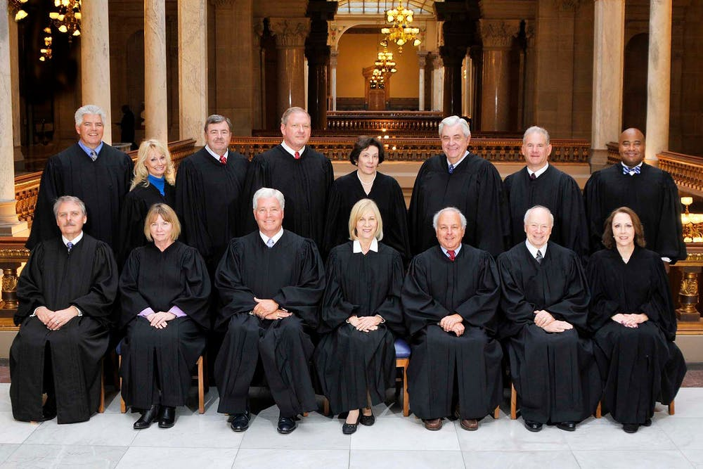 <p>Judges on the Indiana Court of Appeals pose for a headshot in Feb. 2016 in Indianapolis. The court has a vacancy it is attempting to fill after Judge James S. Kirsch announced his retirement on Jan. 28. </p>