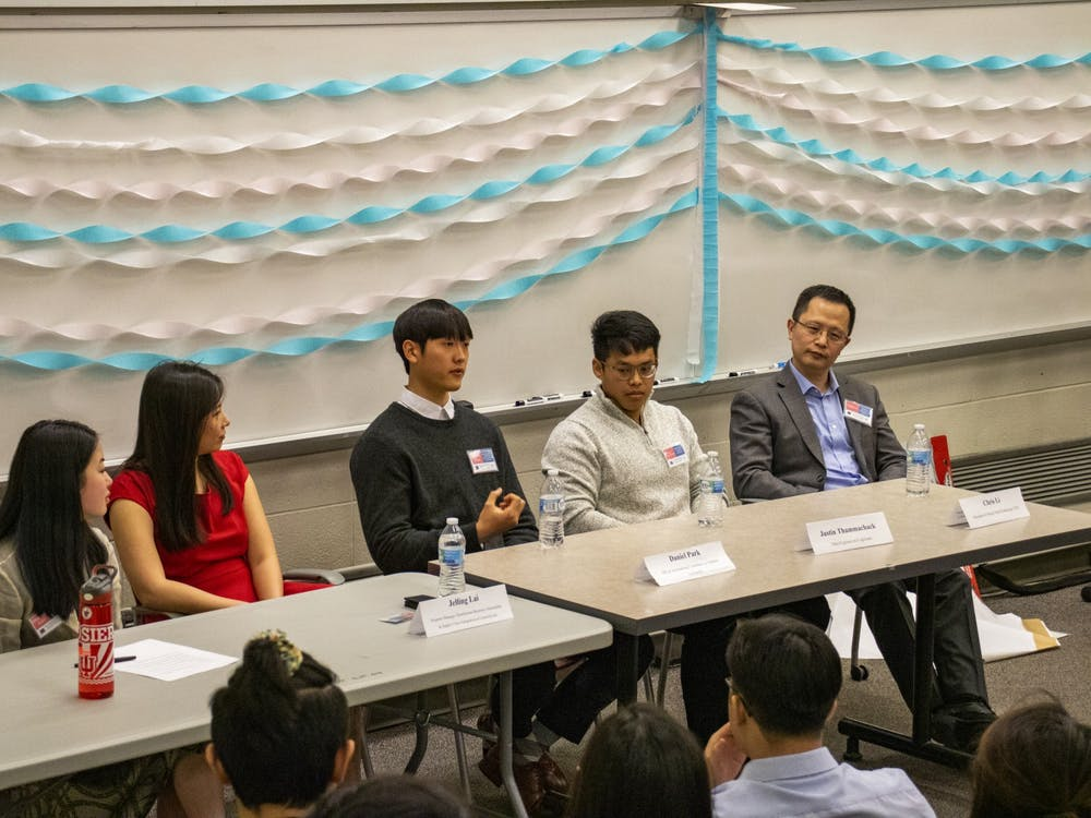 A panel of Asian Americans and Pacific Islanders professionals speak to students about pursuing their careers Saturday in Hodge Hall. The workshop discussion is part of the Indiana Asian American Conference which hopes to teach participants about the diversity of AAPI identities and careers.