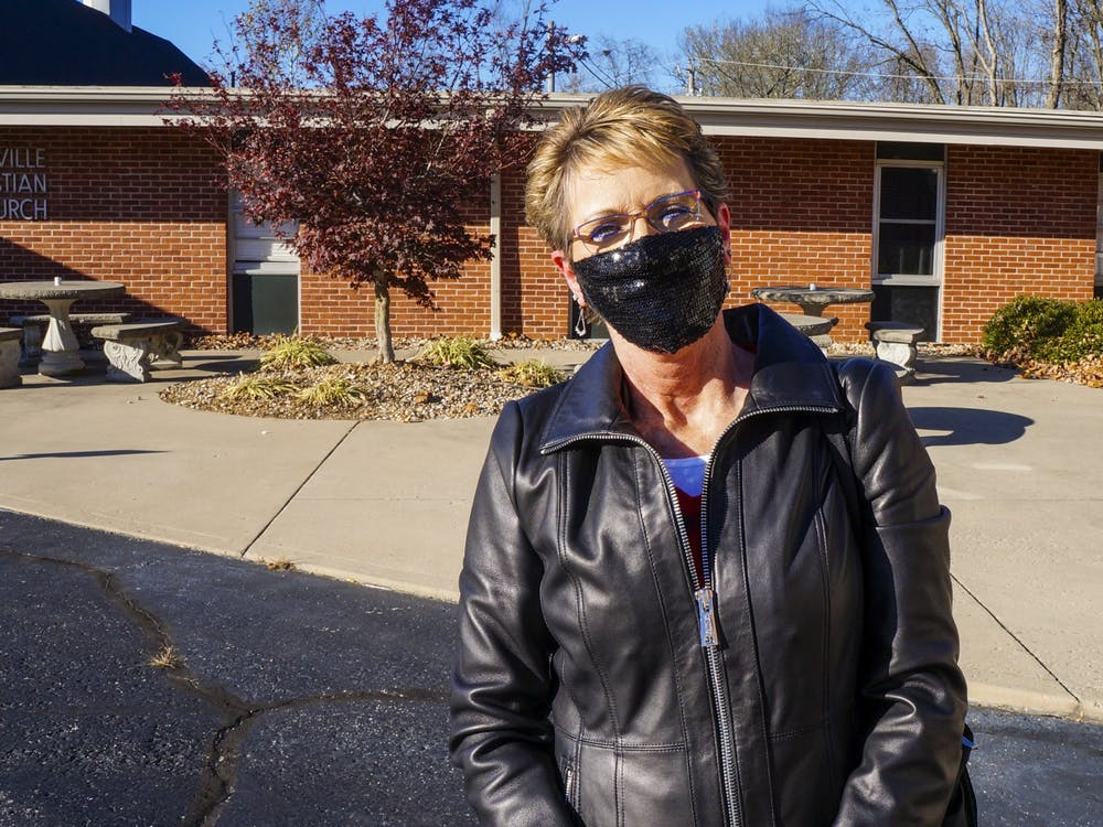 Jackie Stultz, 57, stands Nov. 3 outside Ellettsville Christian Church. She said she hopes voting will put our country in a better direction.