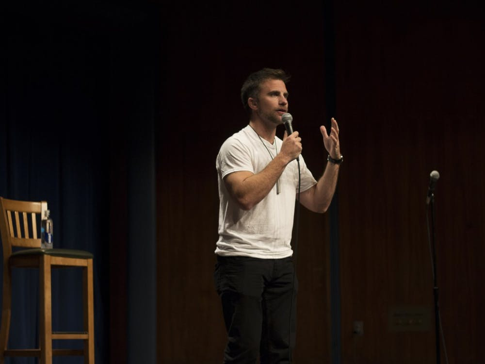 D.J. Demers performs Oct. 10 in the Whittenberger Auditorium. Demers performed his stand-up comedy set at no cost to the listeners. Demers' comedy centers on his observations and experiences while living with and without his hearing aids.