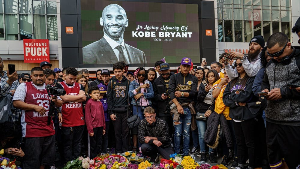 Fans gather Jan. 26 outside Staples center in Los Angeles, California, to mourn the death of Kobe Bryant.