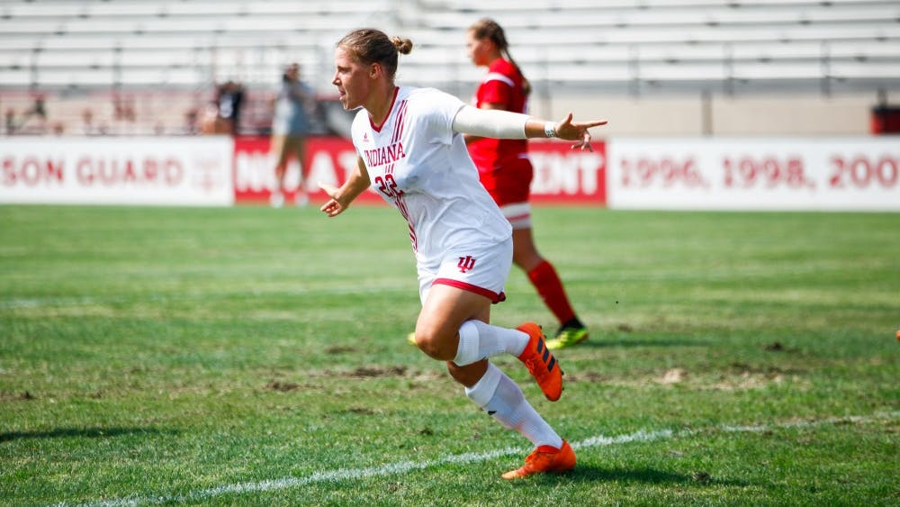 Senior Annelie Leitner celebrates after scoring a goal against Miami at Bill Armstrong Stadium on Aug. 19. Leitner was named Big Ten Player of the Week Tuesday.