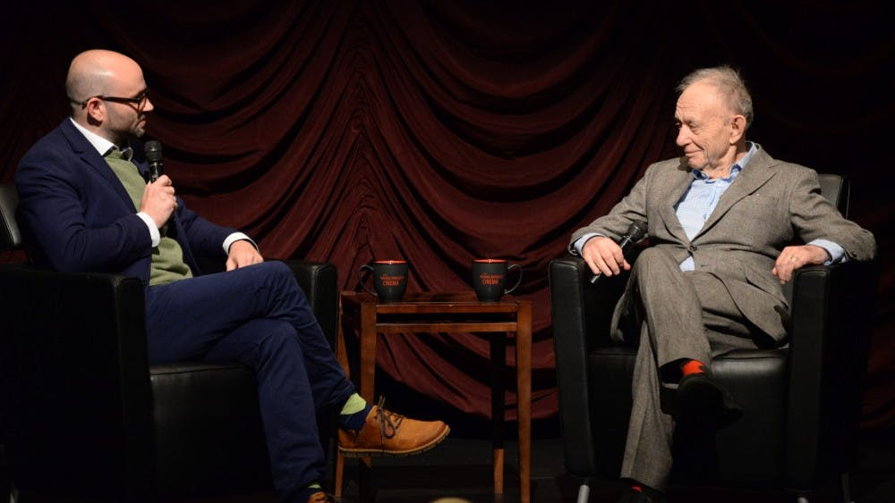 Robert Greene, left and Frederick Wiseman, right having a conversation in the Filmmaker to Filmmaker talk. The inaugural Filmmaker to Filmmaker series took place in the IU cinema Wednesday.