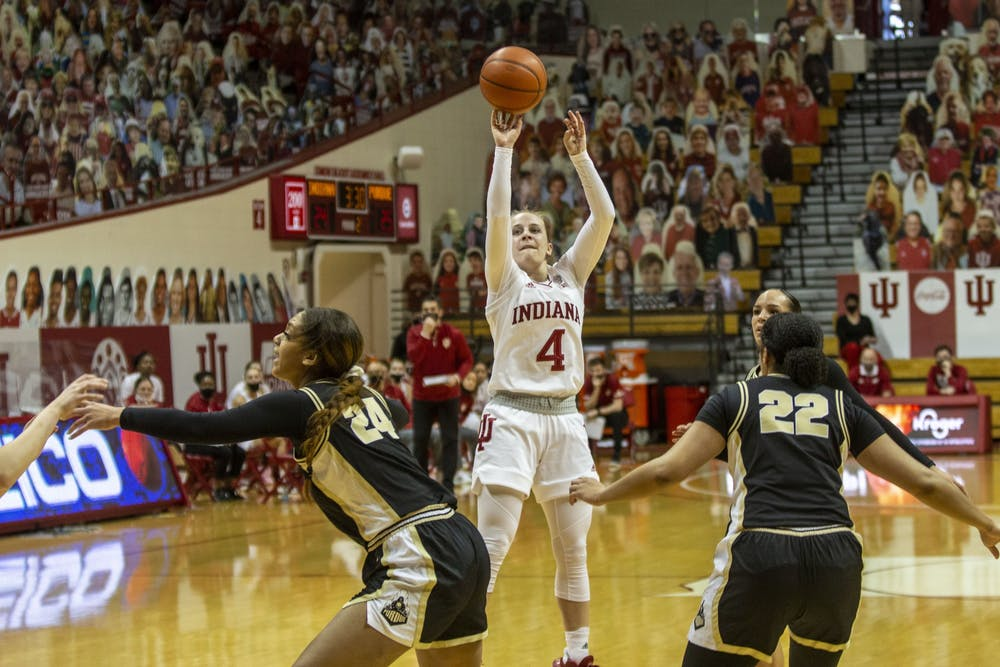 <p>Senior guard Nicole Cardaño-Hillary takes a shot March 6 at Simon Skjodt Assembly Hall. IU defeated North Carolina State University 73-70 on Saturday to advance to the Elite Eight for the first time in program history.</p>