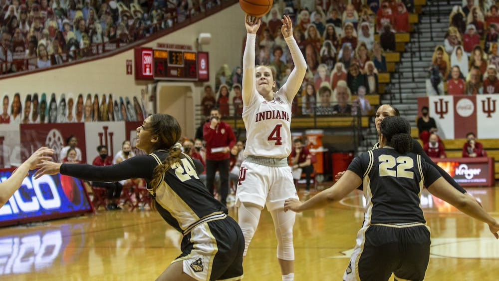 Senior guard Nicole Cardaño-Hillary takes a shot March 6 at Simon Skjodt Assembly Hall. IU defeated North Carolina State University 73-70 on Saturday to advance to the Elite Eight for the first time in program history.