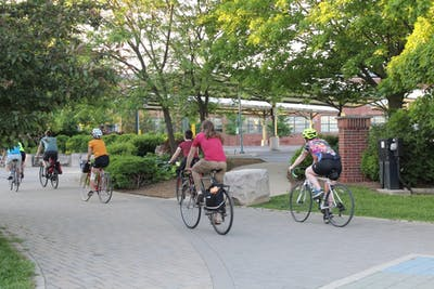 Cyclists ride from Bloomington Community Bike Project to Upland Brewing Co. May 24. The night bike ride honored Michael Brooks, an Upland employee who was killed May 13 in a hit-and-run.