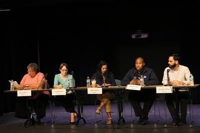 From left, candidates Jane Gouker, Elizabeth Ruh, Thao Nelson, Byron Turner and Brandon Shurr make up the panel of candidates at the Monroe County Community School Corporation candidate forum Sept. 17 in the Monroe County Public Library auditorium. Eric Breidenstein, Jane Gouker, Thao Nelson and Elizabeth Ruh are running for the District 1 seat, while incumbent Martha Street and Byron Turner are running in District 3. Brandon Shurr is running unopposed in District 7.