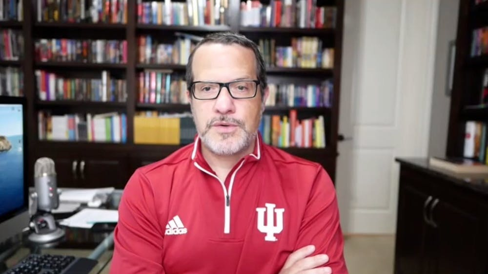 """A screenshot of Dr. Aaron Carroll, IU's director of mitigation testing, speaking Wednesday at his weekly Wednesday """"Ask Aaron"""" webinar is pictured. Dr. Carroll reported one student was hospitalized for COVID-19."""