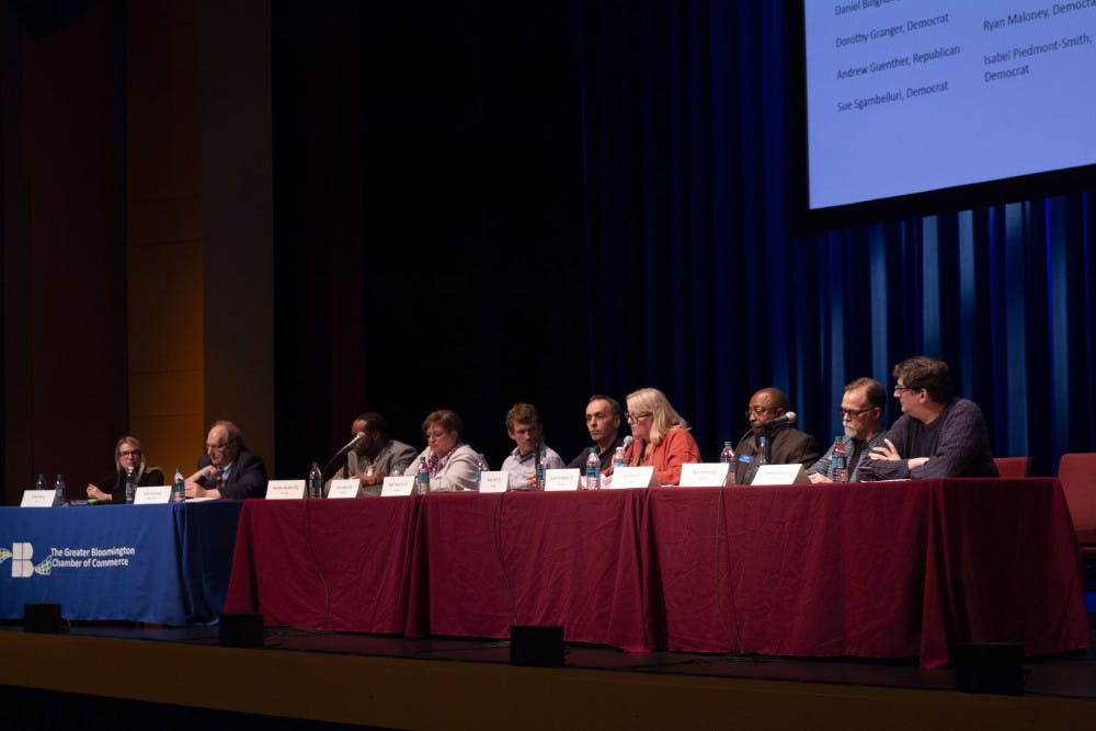 <p>The Greater Bloomington Chamber of Commerce organized an event April 2 at the Buskirk-Chumley Theatre for the city council candidates to speak on issues and why they should be elected. Topics discussed included the Fourth Street parking garage decision and housing development in Bloomington. </p>