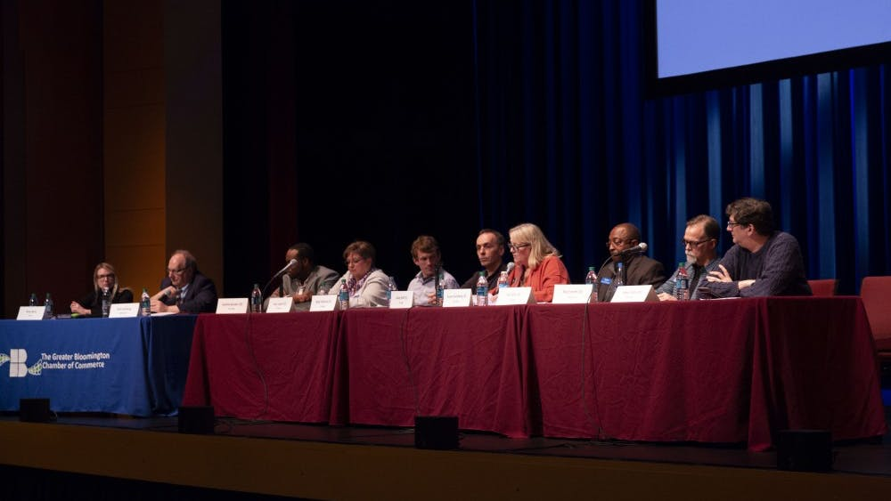 The Greater Bloomington Chamber of Commerce organized an event April 2 at the Buskirk-Chumley Theatre for the city council candidates to speak on issues and why they should be elected. Topics discussed included the Fourth Street parking garage decision and housing development in Bloomington.