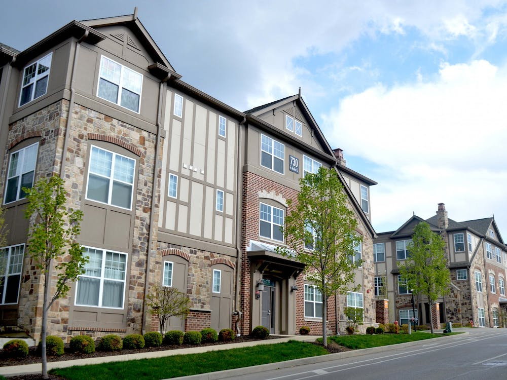 City Flats on Walnut apartments appear April 21 on Walnut Street. Plexes would be permitted in the proposed R4 district, if the Bloomington City Council passes two major UDO amendments April 28.