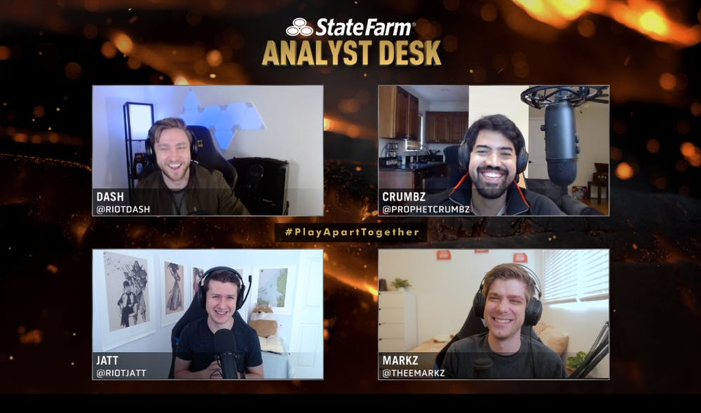 """<p>James """"dash"""" Patterson (top left), Alberto """"Crumbz"""" Rengifo (top right), Joshua """"Jatt"""" Leesman (bottom left) and Mark """"MarkZ"""" Zimmerman (bottom right) sit as the analyst desk for the first round of playoffs during the League of Legends Champions Series.</p>"""