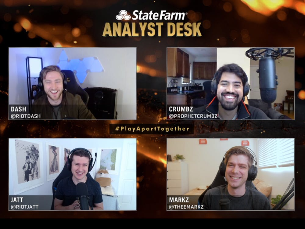"""James """"dash"""" Patterson (top left), Alberto """"Crumbz"""" Rengifo (top right), Joshua """"Jatt"""" Leesman (bottom left) and Mark """"MarkZ"""" Zimmerman (bottom right) sit as the analyst desk for the first round of playoffs during the League of Legends Champions Series."""