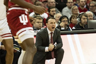 IU men's basketball coach Archie Miller yells during the first half of the game Dec. 7 in the Kohl Center in Madison, Wisconsin. IU will play Nebraska on Friday night.