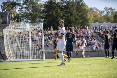 Redshirt junior Spencer Glass celebrates after scoring a goal Oct. 13 at Bill Armstrong Stadium. It was Glass' second goal of the season.