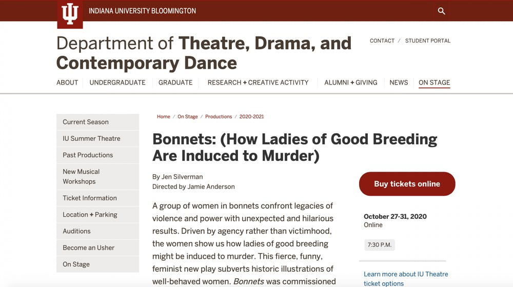 <p>A screen grab from the Department of Theatre, Drama, and Contemporary Dance website</p>