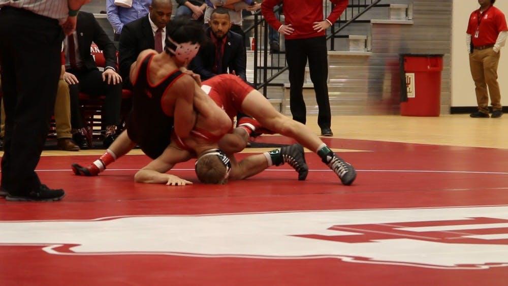 IU wrestles against Maryland on Jan. 13 in Wilkinson Hall. IU defeated Maryland, 36-3.