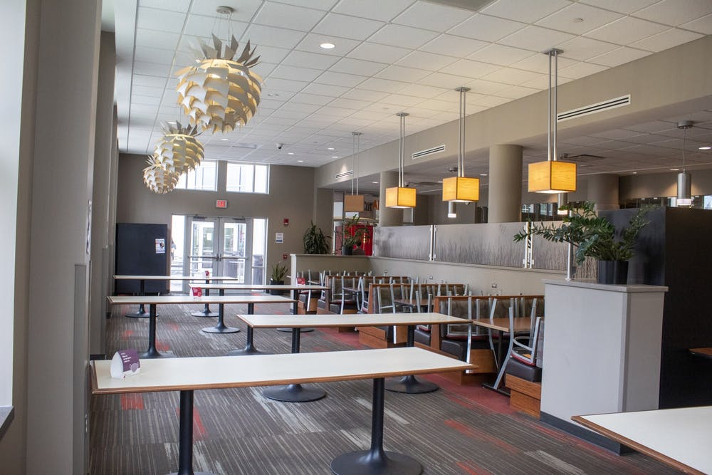 <p>Tables create a zigzag pattern Sept. 3 in the North Dining Room of the Woodland Eatery.</p>