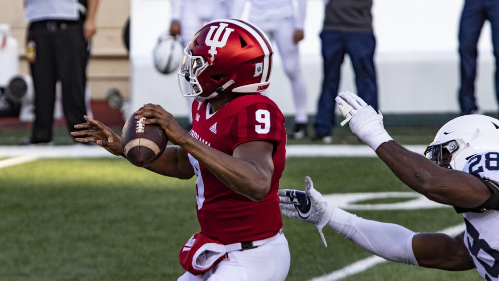 Redshirt sophomore quarterback Michael Penix Jr. prepares to throw the ball Oct. 24, 2020, in Memorial Stadium. Indiana football will play Penn State at 7:30 Saturday.