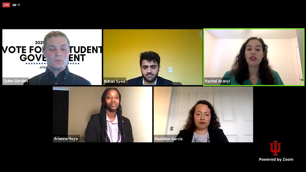 <p>Senior Quinn Gordon and sophomores Ruhan Syed, Rachel Aranyi,  Arianna Hoye and Madeline Garcia participate in the Indiana University Student Government debate Tuesday night via Zoom.</p>