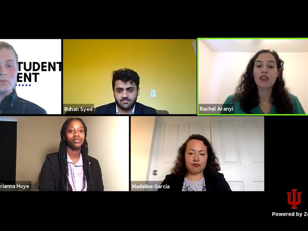 Senior Quinn Gordon and sophomores Ruhan Syed, Rachel Aranyi,  Arianna Hoye and Madeline Garcia participate in the Indiana University Student Government debate Tuesday night via Zoom.