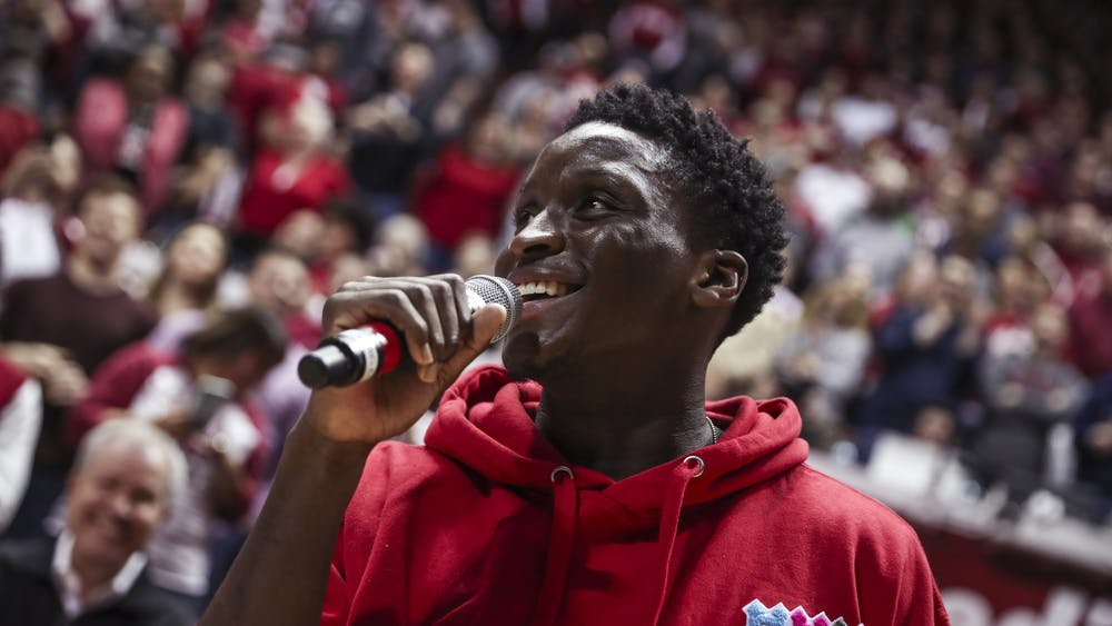 Former Indiana basketball player Victor Oladipo greets fans Feb. 11, 2019, at Simon Skjodt Assembly Hall. Oladipo was traded from the Pacers to the Houston Rockets in a four-team trade that included former NBA MVP James Harden on Wednesday.