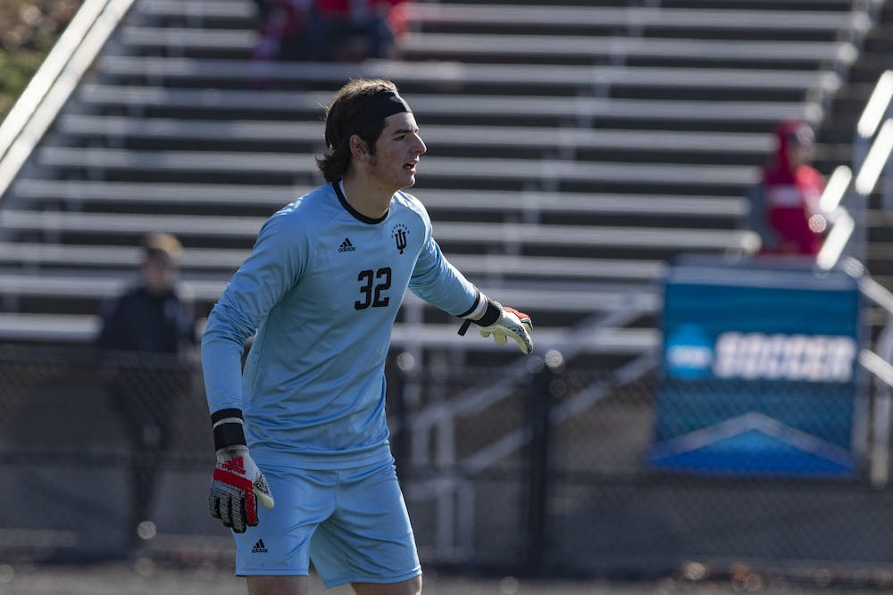 <p>Then-freshman goalkeeper Roman Celentano points to the field Nov. 24, 2019, at Bill Armstrong Stadium. Celentano was named the Defensive Player of the Big Ten Tournament after the Hoosiers&#x27; win over Penn State on Saturday. </p>