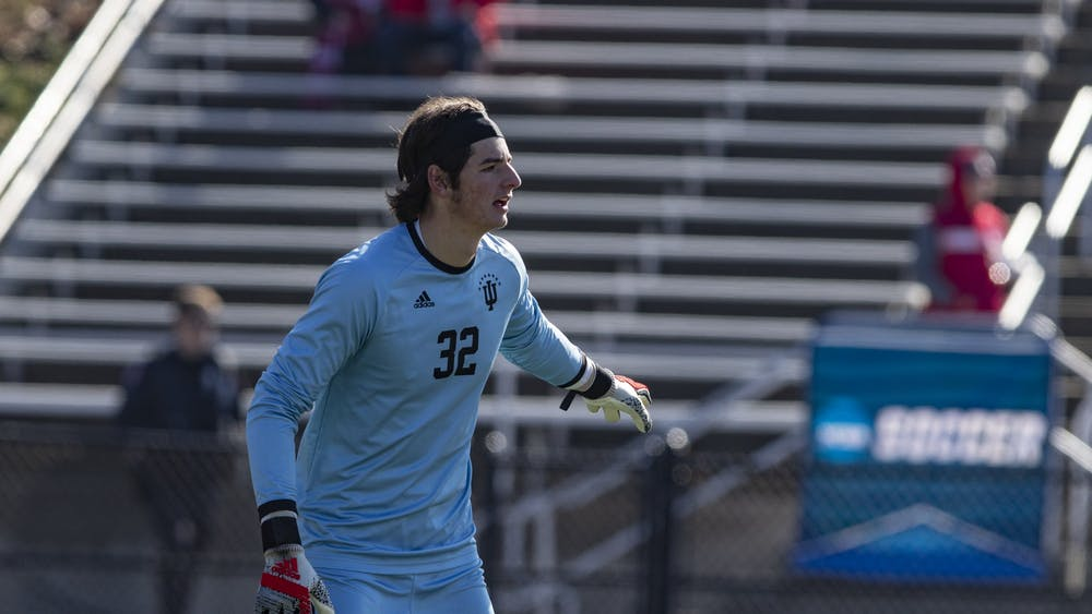Then-freshman goalkeeper Roman Celentano points to the field Nov. 24, 2019, at Bill Armstrong Stadium. Celentano was named the Defensive Player of the Big Ten Tournament after the Hoosiers' win over Penn State on Saturday.