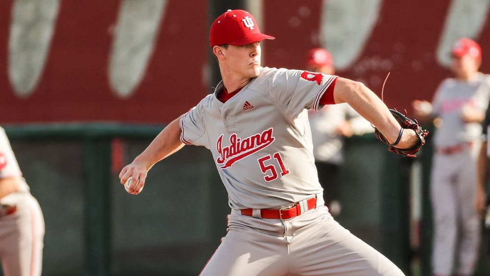 Sophomore pitcher McCade Brown throws a pitch against Rutgers on Sunday in Minneapolis. The Hoosiers went 3-1 for their weekend on the road, with a 2-0 record against Minnesota and a 1-1 record against Rutgers.