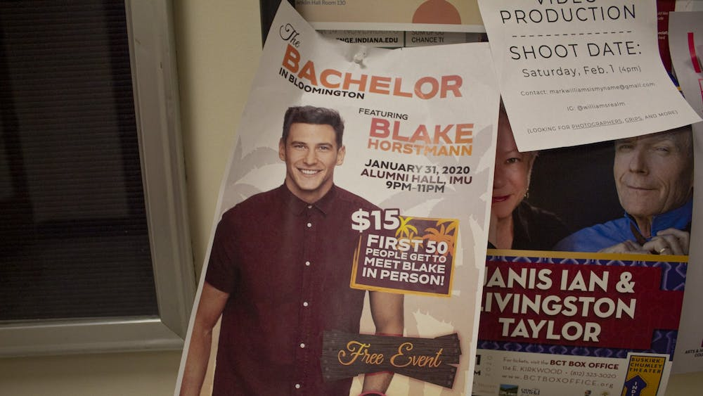 A flyer for The Bachelor in Bloomington hangs in Franklin Hall. Blake Horstmann visited the Indiana Memorial Union for Late Nite Jan. 31.