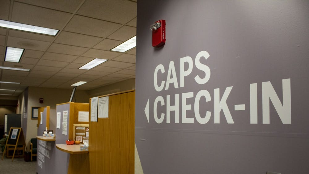 The Counseling and Psychological Services check in desk is seen on the fourth floor of the IU Health Center. CAPS provides students with two free appointments each semester and organizes periodical mindfulness workshops for students.