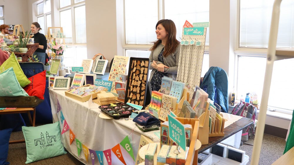 Artist Jean Elise displays her work Nov. 9 at the Bloomington Handmade Market. The Bloomington Handmade Market is an indie craft show for emerging artists and crafters.