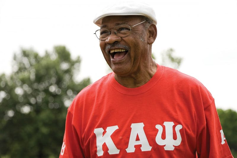 IU football great George Taliaferro celebrates Juneteenth in 2007 at Bryan Park in Bloomington. Taliaferro died at the age of 91.
