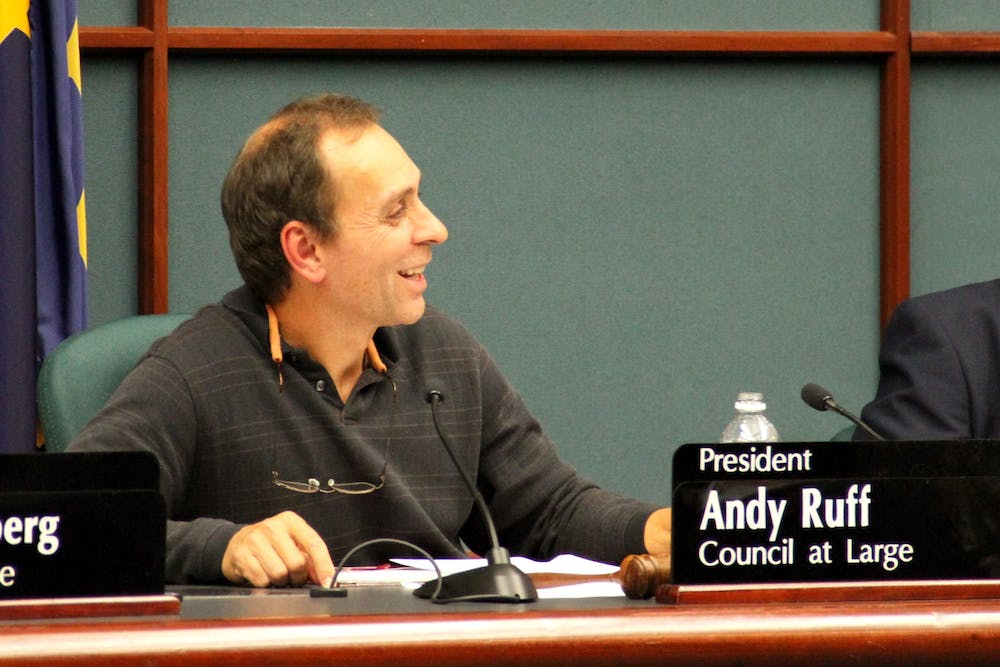 <p>City Councilman Andy Ruff leads a city council meeting Nov. 3, 2016, at City Hall. Ruff announced yesterday he will run for Congress in Indiana's Ninth District.</p>