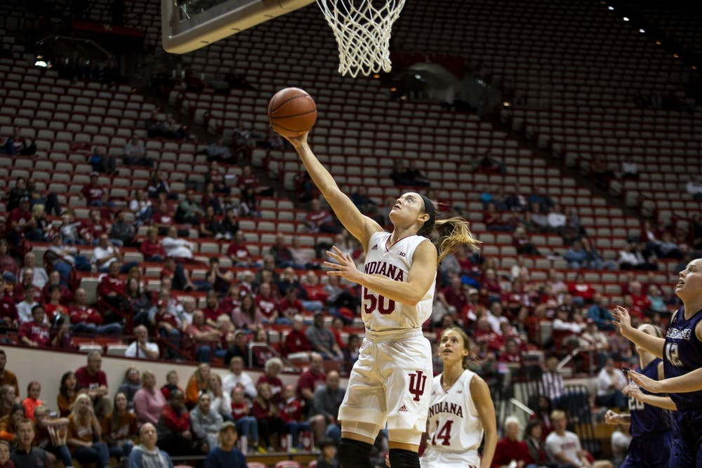 <p>Senior Brenna Wise shoots a layup Nov. 3 at Simon Skjodt Assembly Hall. IU will play Mount St. Mary&#x27;s University on Nov. 7 at home. <em>Correction: A previous version of this caption misspelled Brenna Wise&#x27;s name. The IDS regrets this error. </em></p>