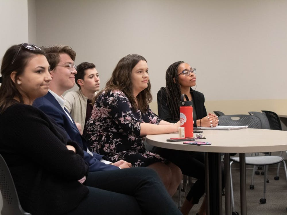 Students wait to campaign to join IU Student Government's executive branch April 10. IUSG celebrated its 70th anniversary April 27 with a reunion of more than 85 IUSG alumni.