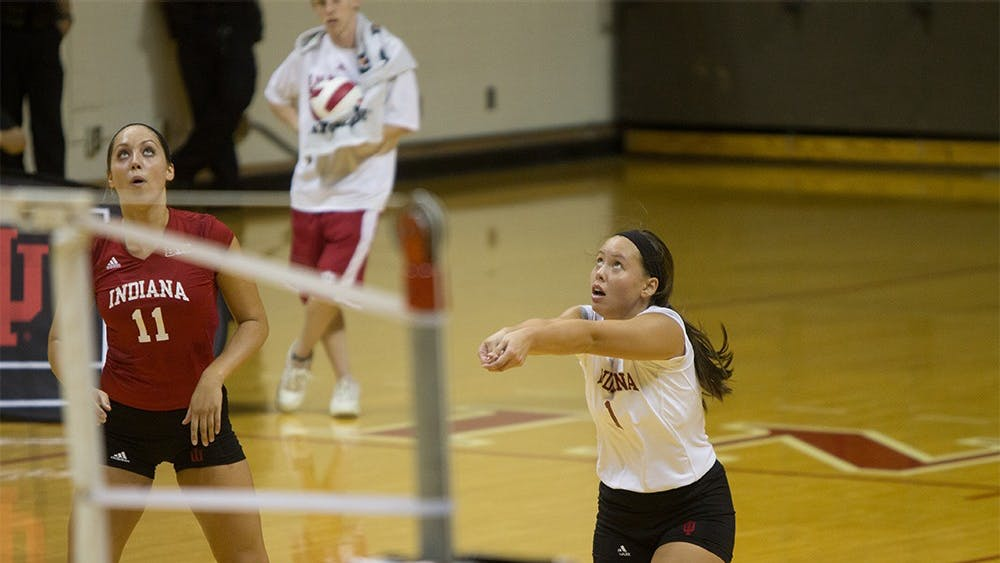 Junior Courtney Harnish sets up during the Hoosier's game vs. SEMO September 6, 2014, at Assembly Hall.
