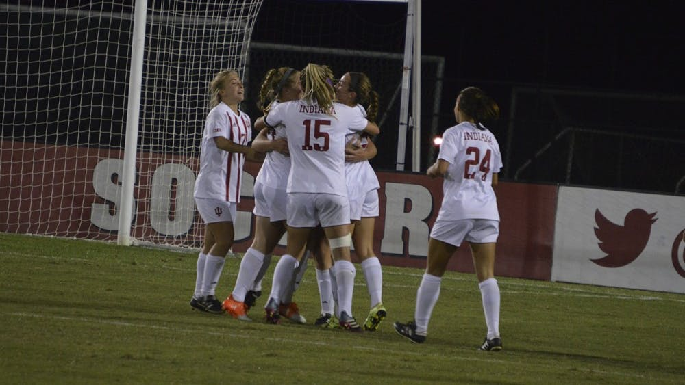 Hoosiers celebrate after scoring their second goal during the second half of Wednesday evenings game against Michigan State.