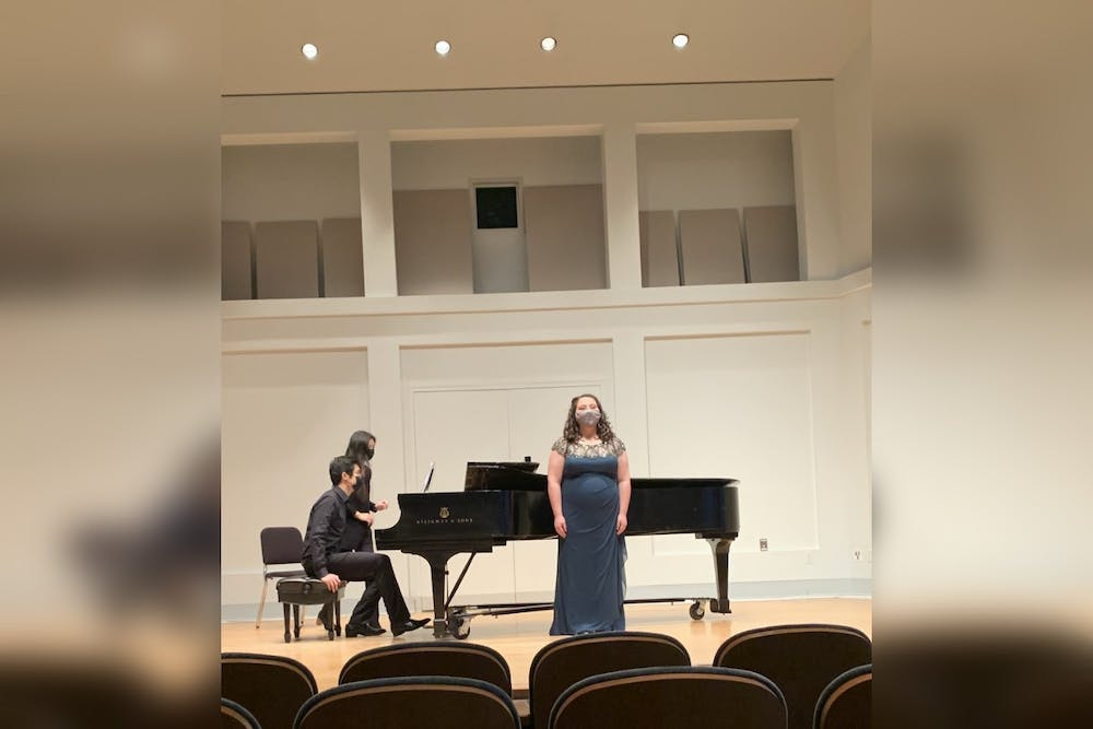 <p>Then-junior Julia Scannell performs at her junior recital. Jacobs students&#x27; recitals have been moved to a livestream format with a limited in-person audience.</p>