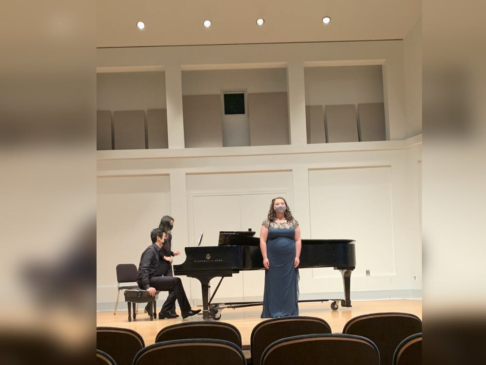 Then-junior Julia Scannell performs at her junior recital. Jacobs students' recitals have been moved to a livestream format with a limited in-person audience.