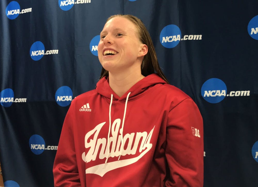 Lilly King talks to the media after winning the 200-yard breaststroke on the final night of the 2019 NCAA Tournament. King earned a silver medal in the women's 4x100-meter medley relay, swimming the breaststroke leg in the preliminary round of the relay.