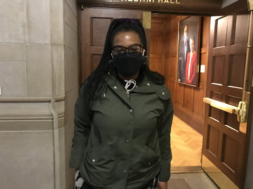 "Jasmine McClain, 22, poses for a photo Nov. 3 at the Indiana Memorial Union. ""All I care about is security,"" McClain said. ""Right now I feel America is not safe, especially for minorities."""