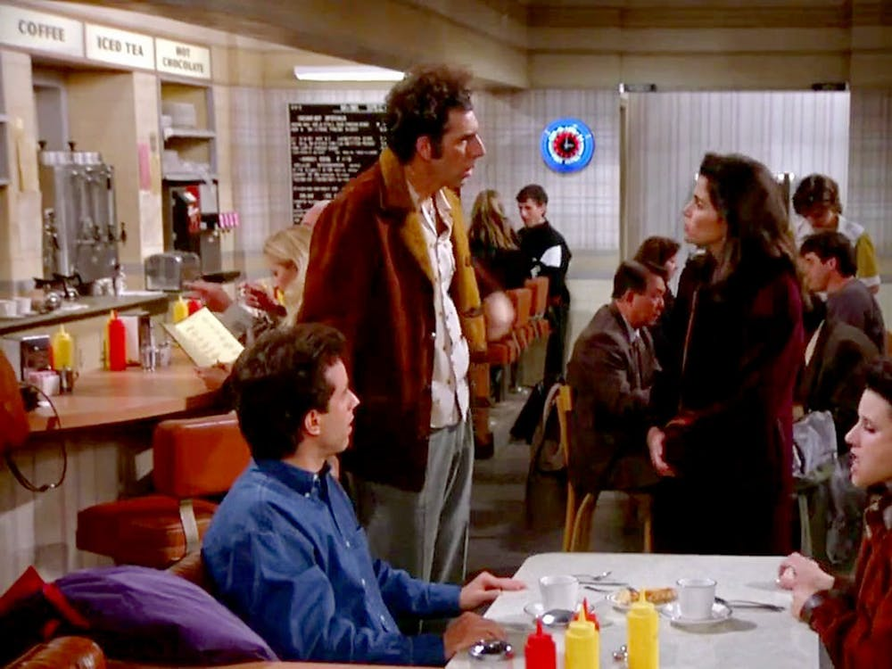 """Cast members of """"Seinfeld"""" perform during an episode of the show. The show ran from 1989-98."""