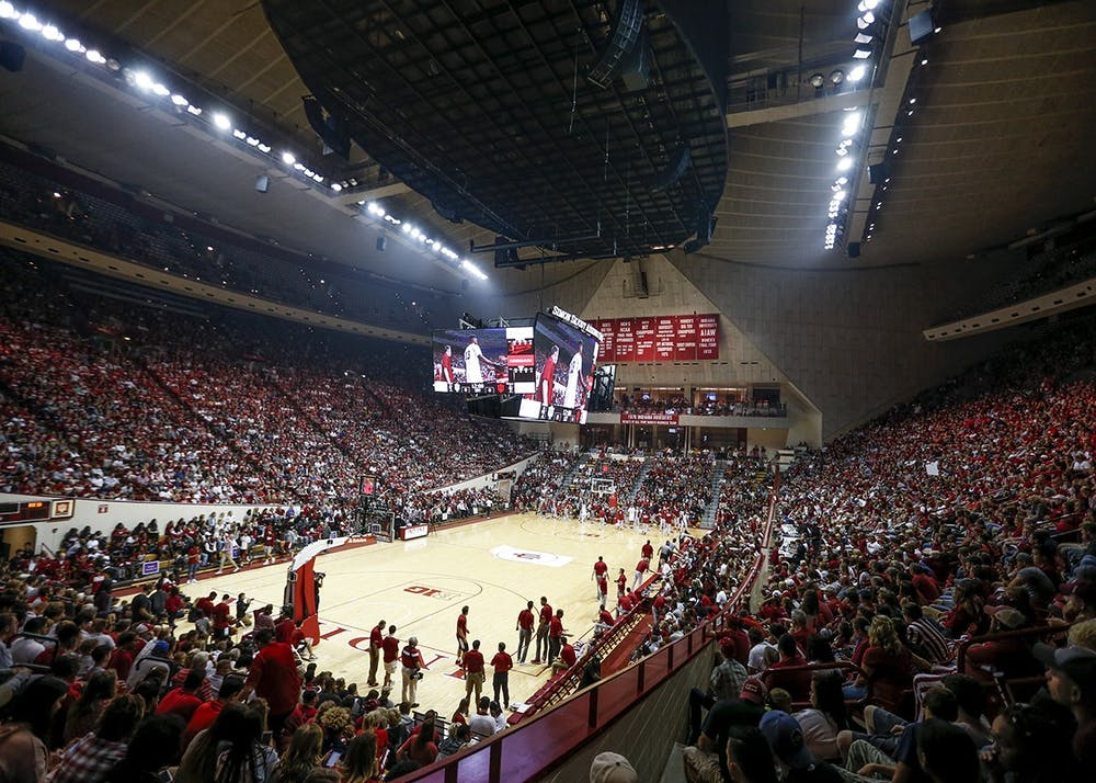 <p>People pack into Simon Skjodt Assembly Hall for Hoosier Hysteria on Oct. 21, 2017. IU Athletics has announced furloughs for some employees to help with budget constraints due to the coronavirus pandemic.</p>
