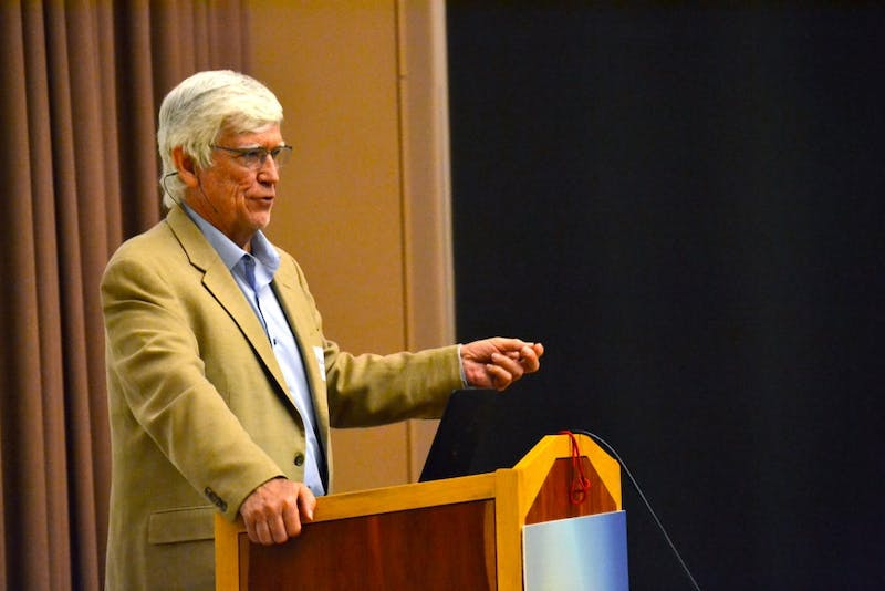 Dr. Russel Mittermeier, 2018 Indianaoplis Prize Winner, speaks Oct. 2 in the Neal-Marshall Black Cultural Center about the environment and saving the planet. Mittermeier is the chief conservation officer for the Global Wildlife Conservation.