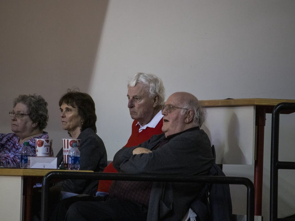 Former IU men's basketball head coach Bob Knight watches the No. 22 IU women's basketball team Feb. 27 in Simon Skjodt Assembly Hall. This was the second time Knight has been to a game at Assembly Hall since he was fired in 2000.